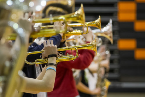 the hands of a trumpet player in a row of brass